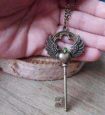 steampunk herz schlüssel vintage Flügel gothic kette amulett Swarovski® Elements