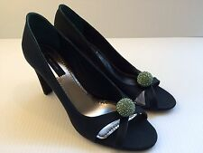 Marc Jacobs Dark Green Canvas Open-Toe Jeweled Pumps Shoes Italy Size 39 US-9