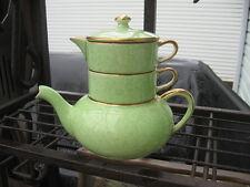 #88 ROYAL WINTON MINI STACKING TEA SET  TEA POT/CUP/CREAMER GREEN GRIMWADES