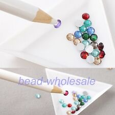 4pc White Rhinestones Picker Pencil Nail Art Tool Wax Pen For Gem Crystal Craft
