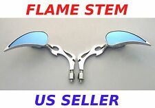 Pair Flame Stem Mirrors - Suzuki Intruder 700 1400 1500