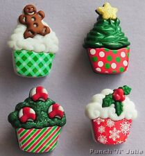 CHRISTMAS CUPCAKES Cup Cake Gingerbread Holly Novelty Dress It Up Craft Buttons