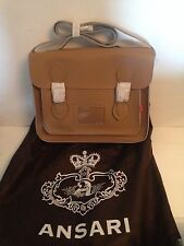 "BNWT STUNNING LARGE ANSARI BEIGE LEATHER  SATCHEL BAG 13x9.5x4"" - GREAT GIFT"