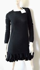 NEW RED VALENTINO 100% merino wool black RUFFLE HEM knit sweater designer dress