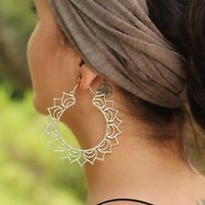 Silver Plated Lotus Flower Goddess Large Hoop Hook Earrings
