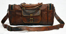 """New 24"""" Large Men's Duffel Bag Travel Gym Squre Overnight Weekend Leather Bag"""