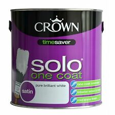 Crown Solo One Coat Satin Pure Brilliant White - One Coat Covarage 750ml