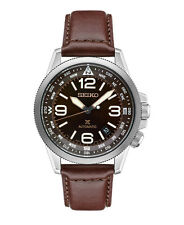New Seiko SRPA95 Automatic Stainless Steel Leather Strap Brown Dial Men's Watch