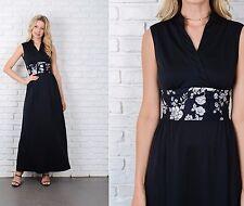 Vintage 70s Black Boho Dress White Floral Print Maxi Sleeveless XS