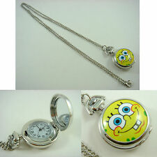 SpongeBob Squarepants Bob Men Boy Child Fashion Pocket Watch Necklace + CHARM