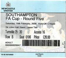 Football Ticket Stub - Newcastle United v Southampton - FA Cup - 18/2/2006