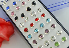 Wholesale 40pcs Silver Charming Round Crystal Stud Earrings 7mm
