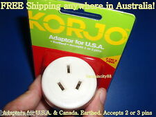 KORJO USA Power Plug Adaptor-AU AUS Australia travel to US America&Canada2or3pin