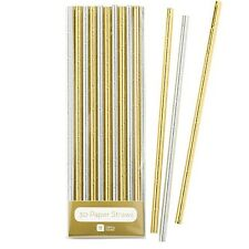 Metallic Glamorous Gold And Silver Paper Straws Wedding Hen Birthday Party Glitz
