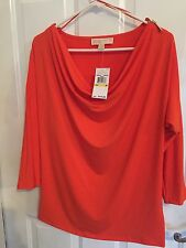 MICHAEL KORS TUNIC STYLE BLOUSE TOP SHIRT MANDARIN ORANGE MEDIUM NWT MSRP $110.