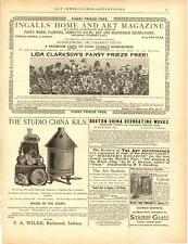 1892 Wilke Studio China Kiln Advertisement 1 Antique Vtg Lithograph Print 14x11""