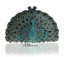 H8105 Crystal Peacock Aqua Blue Metal Evening purse clutch bag IN FREE SHIPPING