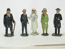 Vintage lead toy farm figures Johillco country wedding bride groom minister 5pc