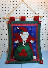 """SANTA CLAUS WITH GIFT BAG QUILTED WALL HANGING - 24"""""""