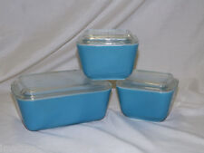 PYREX Refrigerator Dishes with Lids - Teal Blue - 6 pc # 501 & 502