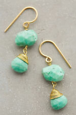 Anthropologie Hot Springs Drops, Green Chrysoprase Lightweight Earrings By Roost