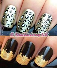 NAIL ART SET 418 ANIMAL LEOPARD PRINT WATER TRANSFERS/DECAL/STICKERS & GOLD LEAF