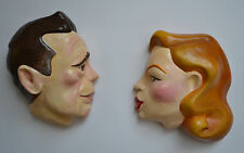 Famous actors - Humphrey Bogart Lauren Bacall 1940's Pair Art Deco Wall Plaques