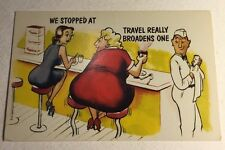 Post Card Comic Cartoon We Stopped At Diner Restaurant Fat Lady Unsent