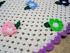 "Vintage Afghan Handmade Crochet GRANNY Throw Blanket 53"" x 48"" 3D Flowers"