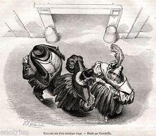 Passanti visti dall'alto: studio di Grandville.Stampa Antica + Passepartout.1855