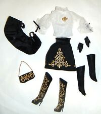 Silkstone Barbie Fashion Golden Embroidery Outfits/Boots For Barbie Dolls ske44