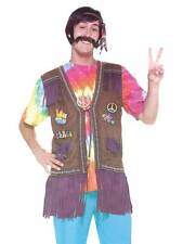 Mens Ladies 1960S 1970S Hippie Peace Vest Fancy Dress Costume Waistcoat New