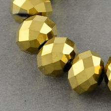 100 pcs RONDELLE FACETED GLASS CRYSTAL BEADS 6 mm Golden Plated jewellery making