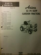 Ariens S-12 S-14 S-16 Lawn Garden Tractor & Implements Parts Manual 56pg 1975