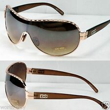 New DG Eyewear Mens Womens Designer Shield Wrap Sunglasses Fashion Brown Gold
