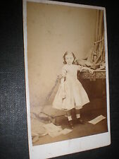 Cdv old photograph girl over turned chair Twyman Margate c1860s ref 517(17)