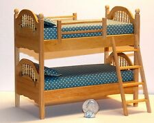 Dollhouse Miniature  Bunk Beds Oak Finish   1:12  one inch scale H