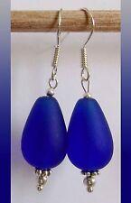 Cobalt Blue Sea Glass Teardrop Sterling Silver Earrings Jewelry Seaglass Hook