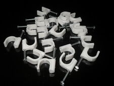 Pack of 20 RG59/RG6 10mm Circle Cable Clips w/ Steel Nail for CCTV & Satellite