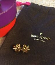 AUTHENTIC 14 kt Gold ✦ Kate Spade NY ✦ Bourgeois Bow Earrings Gift Box BIRTHDAY!