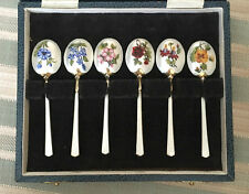 Stunning Solid Silver & Enamel Floral Coffee/Tea Spoons MAPPIN & WEBB c.1973