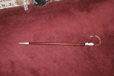 Vintage Walking Stick Cane Staff-Handle Folds Into Seat-Metal & Wood Cane