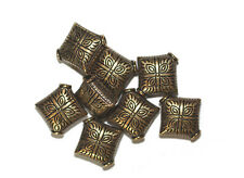 15mm Eastern Diamond Pillow Antiqued Goldtone Metalized Metallic Beads