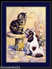 English Print Pet Cocker Spaniel Dog Cat Art Picture