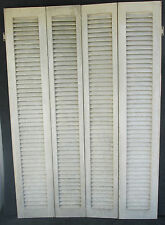 "SET OF ANTIQUE LOUVERED INTERIOR WINDOW SHUTTERS 36 1/2"" W x 54 1/2"" H"