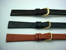 3 Band Lot of Leather Com-Fit Ladies Vintage Watch Bands 14mm Tan Black Brown