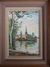 Tableau peinture huile sur panneau bois  , marine