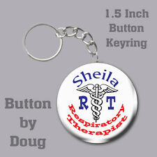 Respiratory Therapist Keyring/Bag Tag Personalized with Name  1.5 Inch Charm