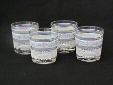 "4 Vtg Jeanette Patrician Greek Hellenic Old Fashioned Glass Tumblers 3 3/4"" Nice"