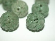 Vintage Carved Chinese Bead Green Jade Flowers Vines Lingzhi Round 18mm Rare!
